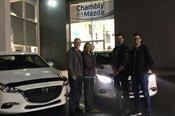 Félicitations à M. et Mme Lauzon pour l'acquisition de votre nouvelle Mazda 3
