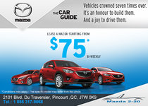 Lease a Mazda Starting from $75Bi-Weekly!