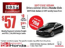 Get the 2017 Honda Civic Sedan LX today!