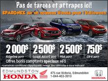 Épargnez sur un nouveau Honda pour l'Halloween.