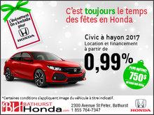 Obtenez la Honda Civic à hayon 2017 aujourd'hui!