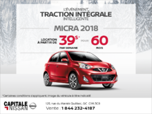 Obtenez la Nissan Micra 2018 dès aujourd'hui! chez Capitale Nissan