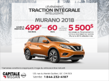 Obtenez la Nissan Murano 2018 dès aujourd'hui! chez Capitale Nissan