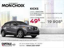 Louez le Nissan Kicks 2019 dès aujourd'hui! chez Capitale Nissan