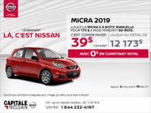 Obtenez la Nissan Micra 2019 dès aujourd'hui! chez Capitale Nissan
