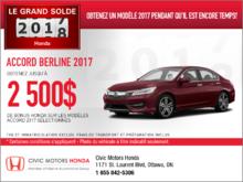 Économisez sur la Honda Accord 2017 dès aujourd'hui!