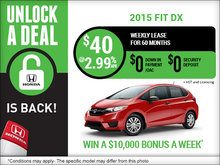 Get the all-new 2015 Honda Fit for $40 per week!