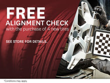 Buy 4 New Tires and get a Free Alignment Check!