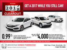 Honda's 2017 Clearout