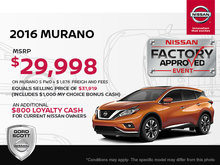 Get the 2016 Nissan Murano Today!