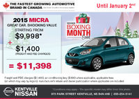 Nissan - The 2015 Nissan Micra is only $9,998
