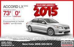 Louez la nouvelle Honda Accord LX 2015 à 73$ par semaine