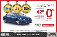 Louez la nouvelle Honda Civic DX 2015 à partir de 42$ par semaine