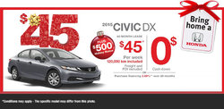 Lease the all-new Honda Civic DX 2015 starting at only $45/weekly