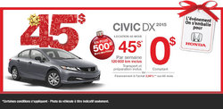 Honda Civic DX 2015 en location à 45$/semaine