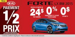 La nouvelle Kia Forte 2015 à 24$ par semaine