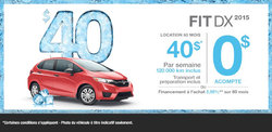 La nouvelle Honda Fit DX 2015 en location à 40$ par semaine