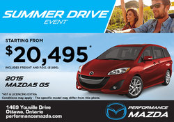 The 2015 Mazda5 GS from as low as $20,495