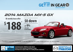Mazda - Lease the 2014 Mazda MX-5 GX for only $188