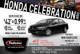 Lease the 2015 Honda Civic DX for as low as $42 weekly!