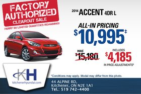 Get the 2014 Hyundai Accent 4-door L for only $10,995!