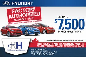 The Factory Authorized Clearout Sale from Hyundai!