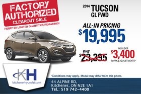 The 2014 Hyundai Tucson GL FWD - Now for only $19,995!