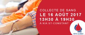 Collecte de sang chez Kia St-Constant