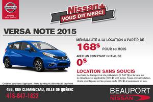 La nouvelle Nissan Versa Note 2015: location à 168$ mensuellement