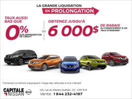 La grande liquidation Nissan en prolongation! chez Capitale Nissan