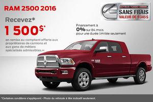RAM 2500 2016 avec remise en argent de 1500$