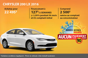 Le CHRYSLER 200 LX 2016 à l'achat à compter de 22 495$