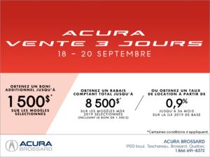 Acura vente 3 jours
