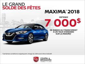 Obtenez le Nissan Maxima 2018 dès aujourd'hui!