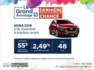 Procurez-vous la Kona 2018!