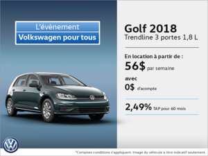 Obtenez la Golf 3 portes 2018 dès aujourd'hui!
