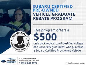 Subaru Certified Pre-Owned Vehicle Graduate Rebate Program