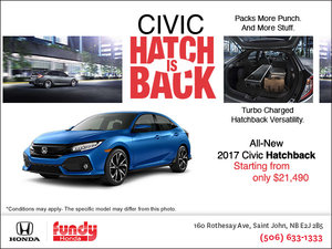 Save on the All-New 2017 Civic Hatchback Now!
