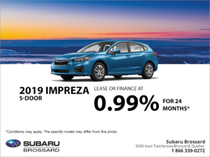 Get the 2019 Impreza 5-door today!