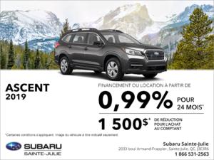 Procurez-vous la Subaru Ascent 2019!