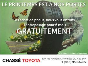 Entreposage de pneus gratuit pour 6 mois