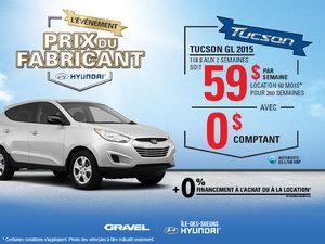 La Hyundai Tuscon GL 2015 en location à 59$ par semaine