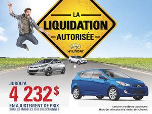 C'est l'événement Liquidation autorisée chez Île-des-Soeurs Hyundai!