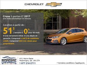 Le Chevrolet Cruze 5 portes 2017 en rabais!
