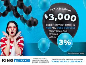 Get a minimum of $3,000 credit!
