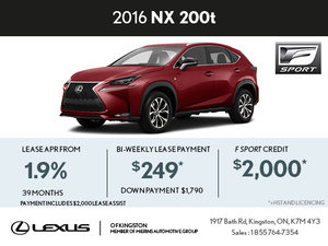 Lease the Brand-New 2016 Lexus NX 200t Today!
