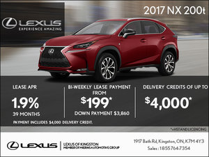 Lease the 2017 Lexus NX 200t Today!