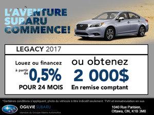 Obtenez la Subaru Legacy 2017