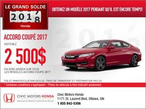 Économisez sur la Honda Accord Coupé  2017!