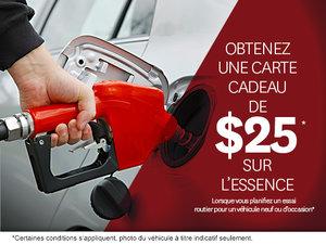 Obtenez une carte-cadeau de 25$ sur l'essence